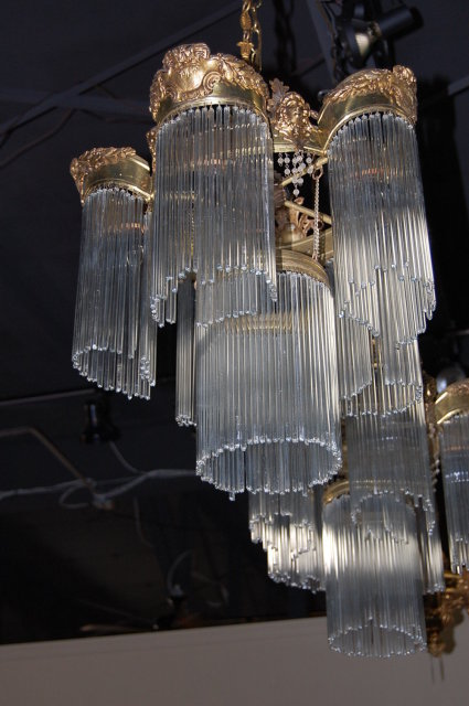 Unusual Pair of American Victorian Brass & Crystal Chandeliers