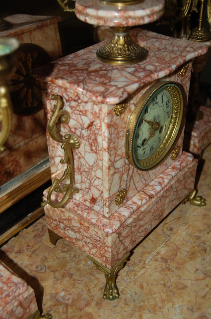 French Marble & Bronze 3 Piece Clock Set