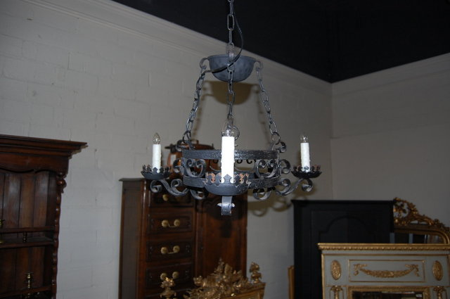 Petite French Iron Three Light Chandelier
