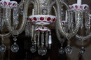 Czechoslovakian Cranberry & Cut Crystal Chandelier
