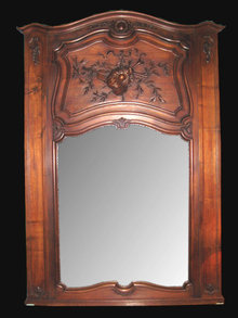 19th Century French Carved Walnut Trumeau