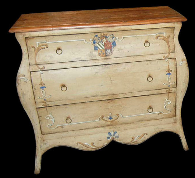 French Bombe Painted Commode
