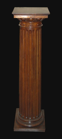 French Fluted Walnut Pedestal