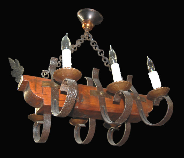 French Iron & Wood Chandelier