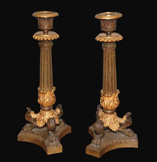 Pair of 19th Century French Empire Candlesticks