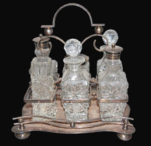 English Victorian Silverplated & Crystal Cruet Set
