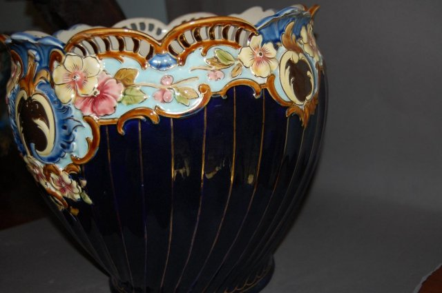 French Cobalt Floral Planter