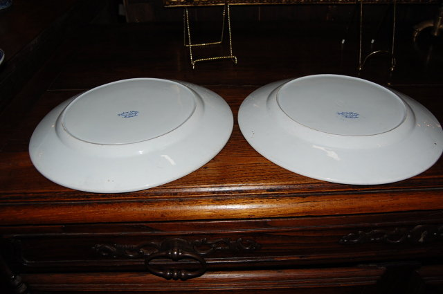 Pair of French Blue & White Plates