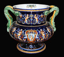 French Faience Cobalt Double Handled Vase
