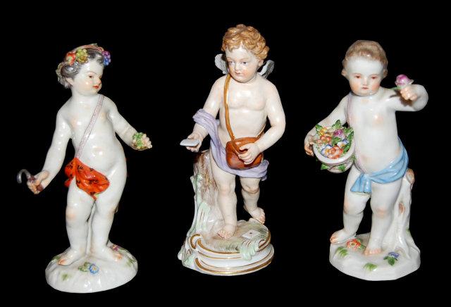 Outstanding Group of 3 German Meissen Figurines