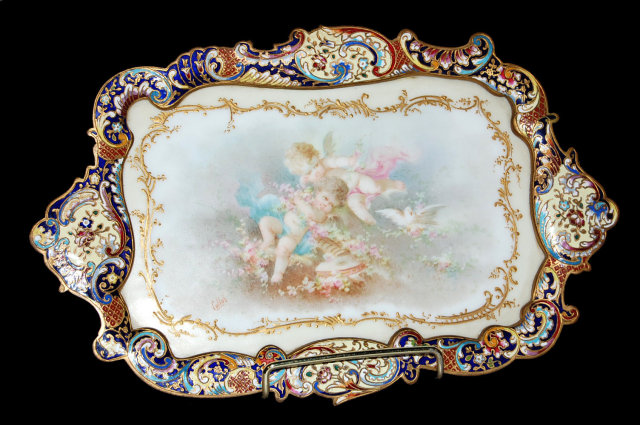 French Sevres Porcelain & Champleve` Tray