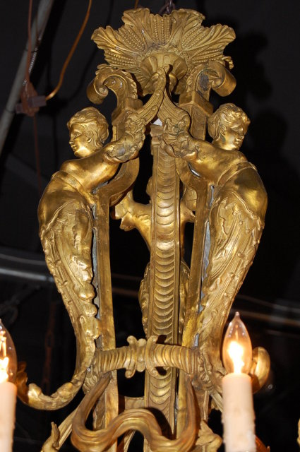 Unusual 19th Century French Bronze Chandelier