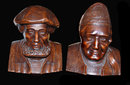 Pair of English Carved Oak Busts