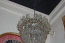 American Victorian Crystal Basket Chandelier