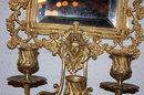 Exquisite Pair of Bronze Mirrored Sconce