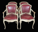 Set of 4 French Leather Armchairs