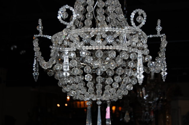 19th Century French Crystal Basket Chandelier