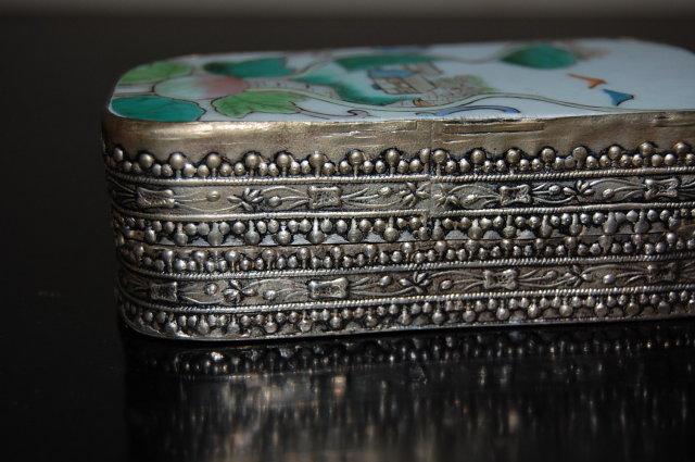 Oriental Silver & Porcelain Pill Box