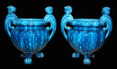 Pair of French Blue Majolica Urns