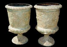 Impressive Pair of Bronze Urns