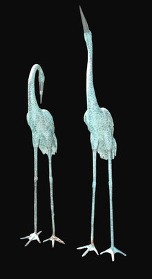 Pair of Large Decorative Bronze Cranes