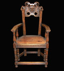 Walnut Finely Carved Armchair