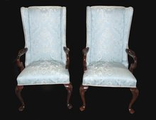 Pair of Queen Anne Silk Brocade Armchairs