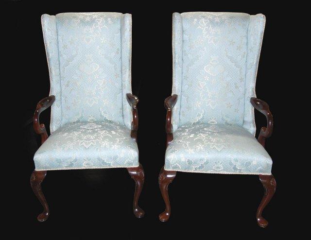 Pair of Queen Anne Silk Brocade Armchairs