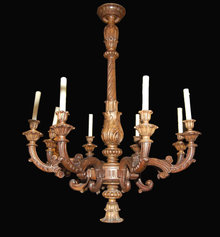 Italian Carved Walnut Chandelier