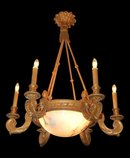 French Louis XVI Giltwood Alabaster Chandelier