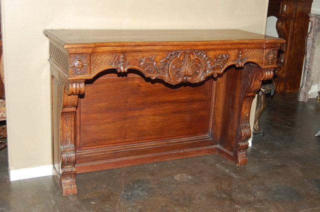 French Carved Walnut Console