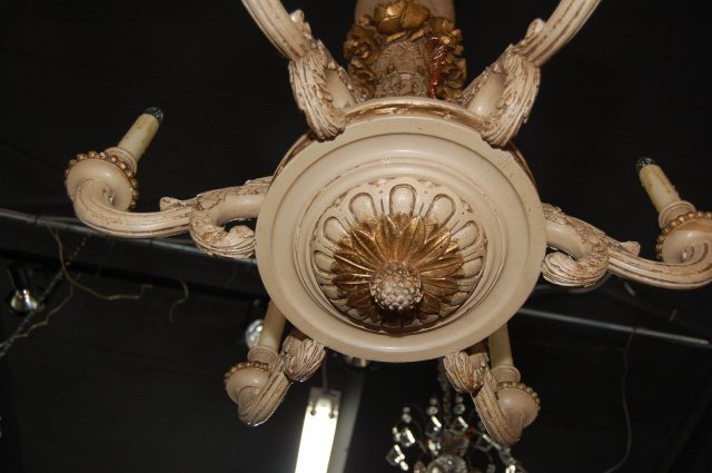 Italian Carved Wooden Chandelier