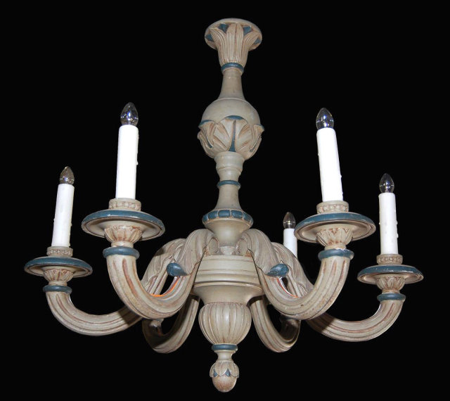 Carved & Painted Chandelier