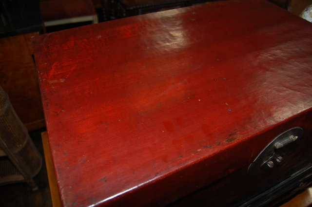 Oriental Lacquered Trunk On Stand