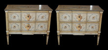 Pair of Continental Painted Commodes
