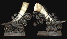 Pair of Art Deco Horn Elements