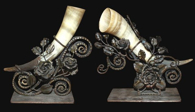 Pair of Art Deco Horn Elements