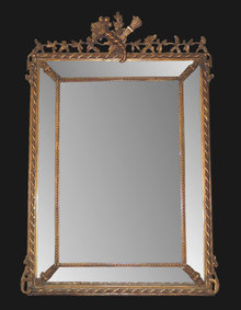 19th Century French Transitional Cushion Mirror