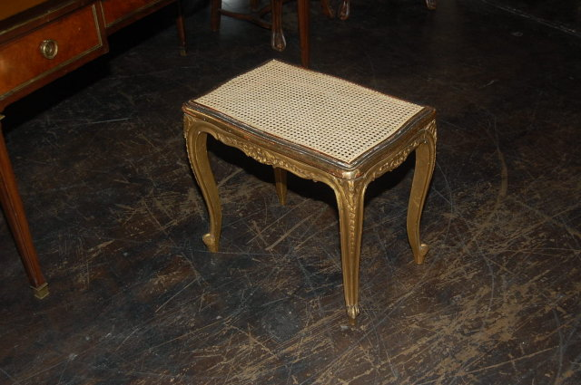 French Giltwood Caned Stool