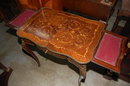 French Marquetry Inlaid Writing Table
