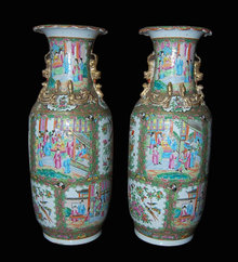 Pair of Rose Medallion Vases