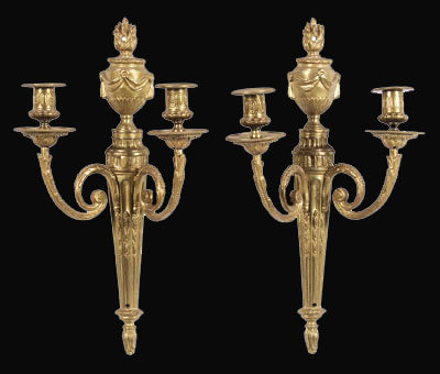 Pair French Gilt Brass Sconce
