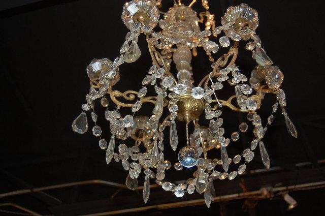 French Antique Gilt & Brass Chandelier