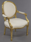 Set of 4 Louis XVI Style Giltwood Arm Chairs