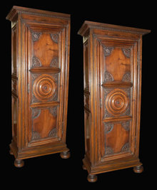 Pair French Walnut Cabinets