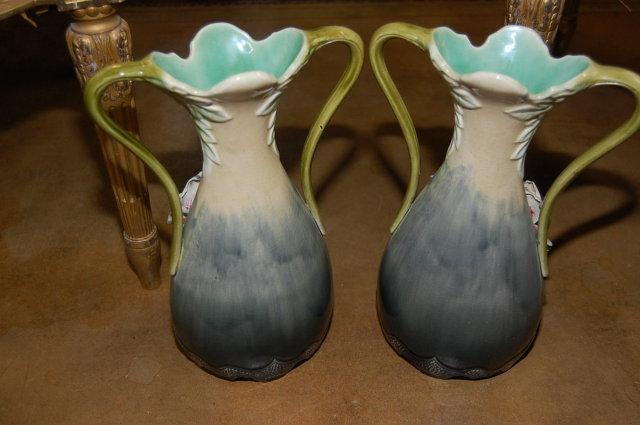 Pair French Barbotine Vases
