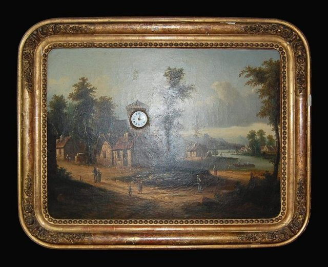 French Painting With Built In Clock