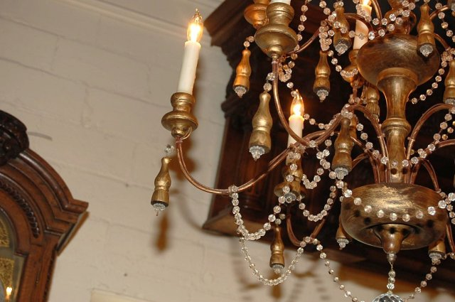 Italian Wood & Crystal Chandelier