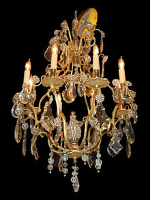 French Dore Bronze & Crystal Chandelier
