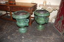 Pair Bronze Patinated Urns